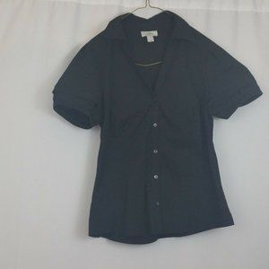Ann Taylor LOFT Womens Solid Black Button Down Vne